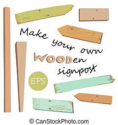 singpost, su, marca, de madera, poseer