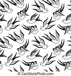 singvogel, seamless, muster