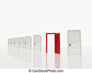 Sinigle open red door in of several white doors white space