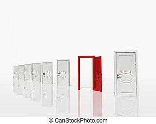 sinigle, porte, espace, portes, blanc, plusieurs, ouvert, rouges