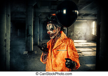 sinister, clown, man