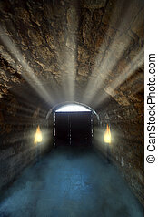Sinister Dungeon - Ancient gate in the light on the dark ...