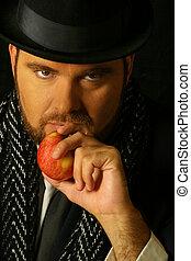 sinister, man, met, appel