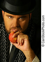 sinister man with apple