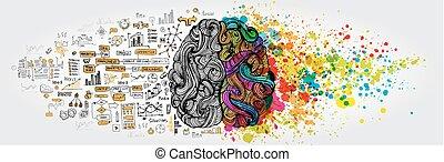 sinistra, destra, cervello umano, concept., creativo, parte, e, logica, parte, con, sociale, e, affari, scarabocchiare