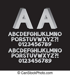 sinistra, giù, isometrico, font, destra
