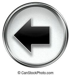 sinistra, grigio, icona freccia