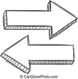 sinistra, scarabocchiare, freccia appuntita, r