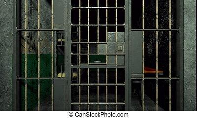 sinistre, informatique, par, engendré, barres, 3d, prison, intérieur, rendre, fond