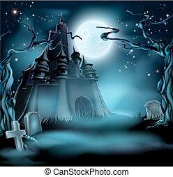 sinistro, castello, halloween
