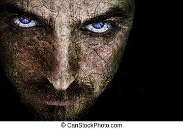 sinistro, dall'aspetto, faccia
