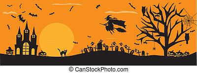sinistro, halloween, fondo
