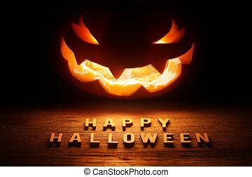 sinistro, -, halloween, o, hallowee, cricco, fondo, lanterna, felice