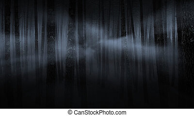 sinistro, nebbioso, foresta, notte