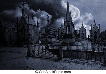 sinistro, vecchio, cimitero, illuminato dalla luna, europeo