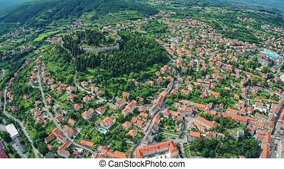 Sinj old town, aerial shot