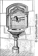 Sink at the Notre Dame Cathedral in Paris, France, vintage engraved illustration. Dictionary of Words and Things - Larive and Fleury - 1895
