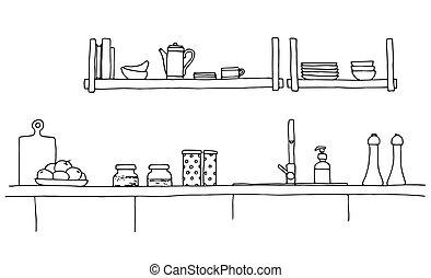 sink., bosquejo, encimera, cocina