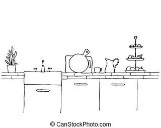 sink., bosquejo, encimera, kitchen., cocina