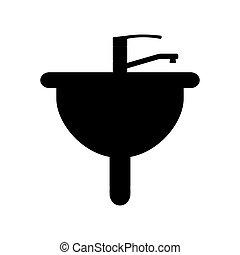 Sink flat icon on blue background. Vector illustration.
