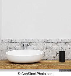 Sink in white bathroom