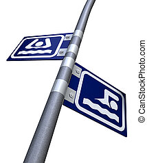 Sink Or Swim Direction Signs - Two opposite facing street...