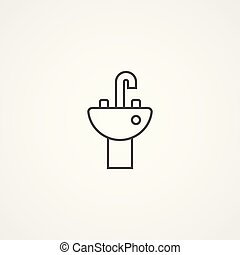Bathroom Sink Sign White Section Of Icon On Blueprint Template