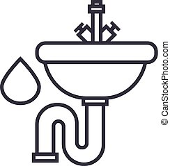 sink vector line icon, sign, illustration on background, editable strokes