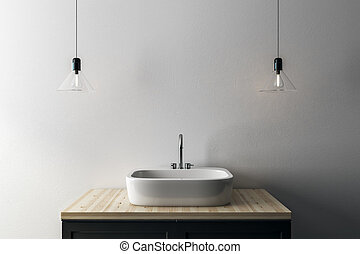 Close up of sink and lamps on concrete wall background with copy space. Mock up, 3D Rendering