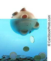 sinken, blaues, ertrinken, wasser, schweinchen, dargestellt,...