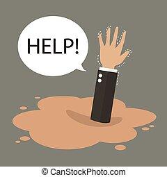 sinken, geschäftsmann, pfütze, quicksand, hand