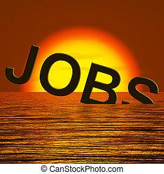 sinken, stellen, arbeitslosigkeit, ausstellung, wort, ...