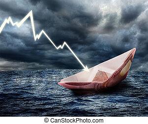 sinkenden schiff, euro