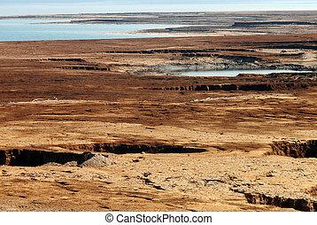 Sinkhole in the Dead Sea valley Israel - Landscape view of...