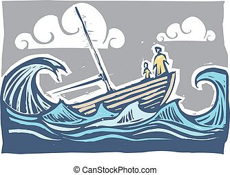 Sinking boat #3 - Boat with woman and child sinking in the...