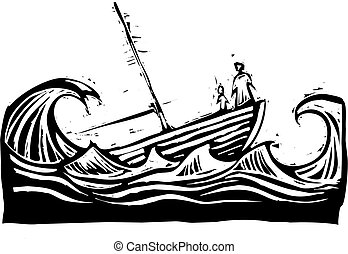 Sinking boat - Boat with woman and child sinking in the...