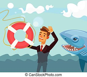 Sinking businessman character. Vector flat cartoon illustration