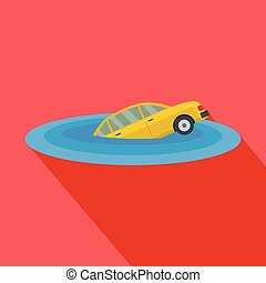Sinking car icon, flat style
