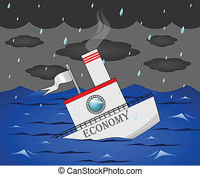 """A boat that says """"Economy"""" sinking into the water."""