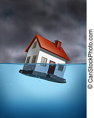Sinking Home - Housing crisis with a sinking home in the...