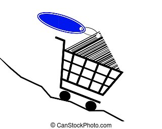 sinking prices - a shopping basket drive of a sinking prices...