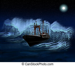 Sinking Ship at night - Sinking ship being hit by massive ...