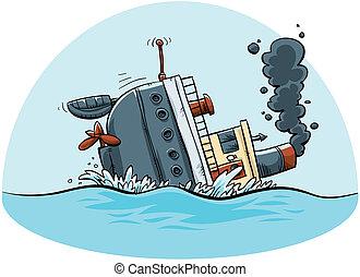 Sinking Ship - A cartoon ship sinks.