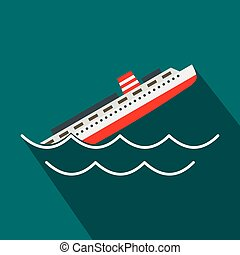 Sinking ship icon, flat style - Sinking ship icon in flat...