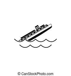 Sinking ship icon, simple style - Sinking ship icon in...