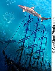 Sinking ship on sea bottom  and sharks