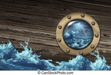 Sinking ship crisis concept with a boat in dangerous thunder storm sea challenged by a risky environment as a metaphor for depression and distress in business and life journey.