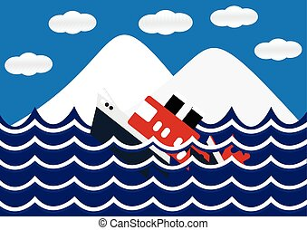Sinking ship with iceberg and wave flat design. Vector...