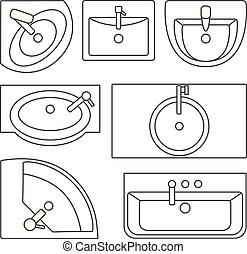 Sinks top view collection. Vector contour illustration. Set of different wash basin types.