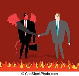 sinner, ビジネスマン, 取引, satan, devil., manager., 契約, 握手, 悪魔, 人, ...